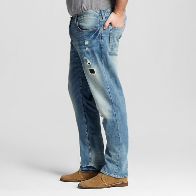 Men's Big & Tall Slim Straight Jeans Medium Wash with Repair - Mossimo Supply Co. 48X32, Blue
