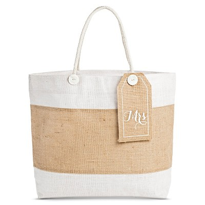 Women's Tote Handbag with Removable  Mrs.  Tag - Beige