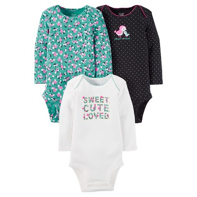 Just One You™ Made by Carter's® Baby Girls' 3pk Floral Bodysuit Set - Mint/Ivory 12M