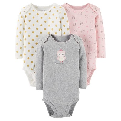 Just One You™ Made by Carter's® Baby Girls' 3pk Princess Owl Bodysuit Set - Grey 6M