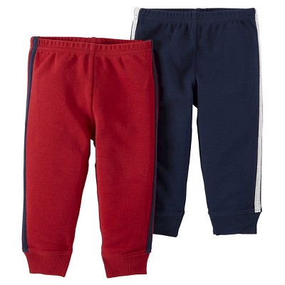 Just One You™ Made by Carter's® Baby Boys' 2pk Stripe Pants - Burgundy 6M