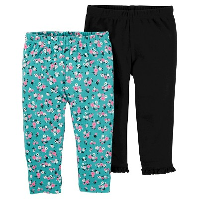 Just One You™ Made by Carter's® Baby Girls' 2pk Mint Floral and Black Pants - 12M