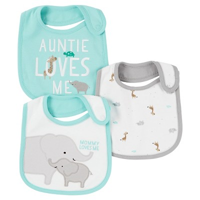 Baby 3pk Bib Set - Just One You™ Made by Carter's® Mint/Gray