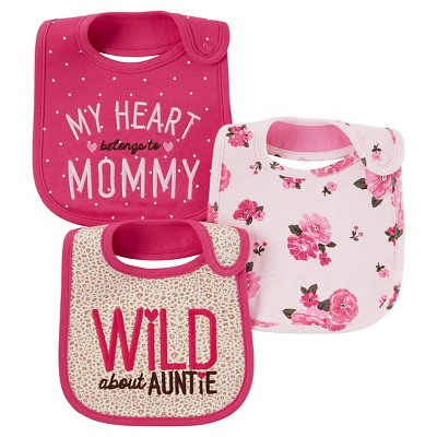 Just One You™ Made by Carter's® Baby Girls' 3pk Monkey My Heart Belongs to Mommy Bib - Pink