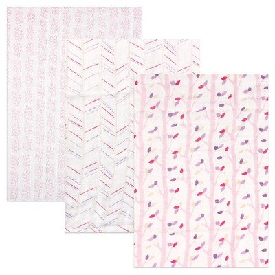 Hudson Baby Rayon from Bamboo Muslin Swaddle Blanket - Pink Birch - 3pk