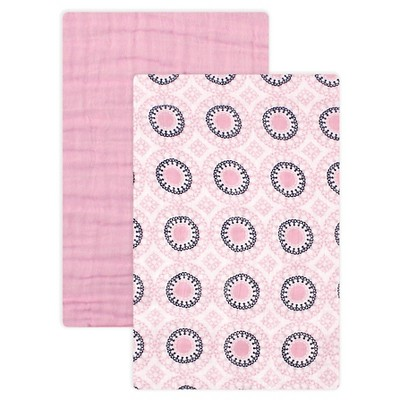 Yoga Sprout Muslin Swaddle Blanket - 2pk - Pink Ornamental