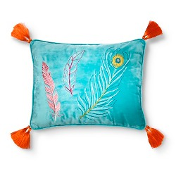 Alexis Embroidered Feather Pillow 14x18 Blue - Sheringham Road™