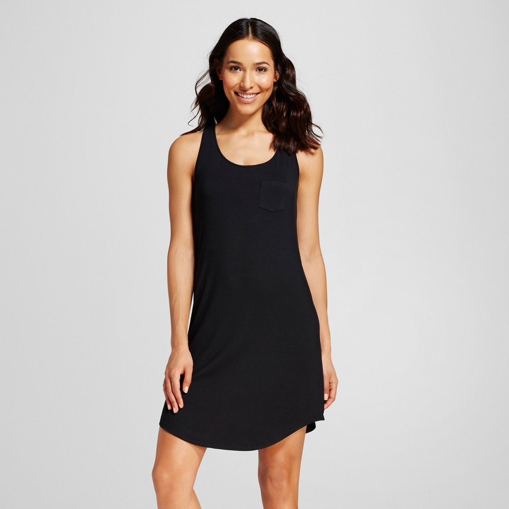 Womens Pajama Fluid Knit Tank Gown with Built-In Support - Black M