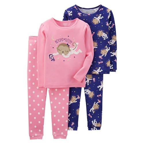 Girls' 4pc Long Sleeve Cotton PJ Pink/Purple 3T - Just One YouMade by Carter's, Toddler Girl's