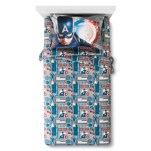 Captain America Sheet Set Twin Multicolor - Marvel