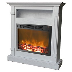 Cambridge CAM3437-1WHT Sienna Fireplace Mantel with Electronic Fireplace Insert, White