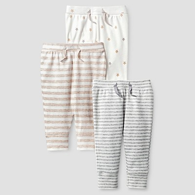 Baby Organic 3 Pack Pants Set Cat & Jack™ - White/Heather Gray