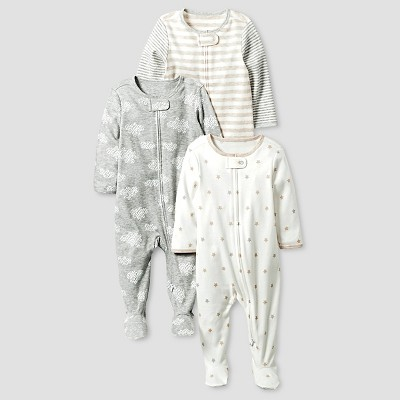 baby organic 3 pack zip front sleep nu0027 play set cat u0026 jack gray