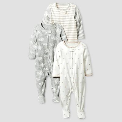 Baby Organic 3 Pack Zip Front Sleep N' Play Set Cat & Jack™ - White/Heather Gray