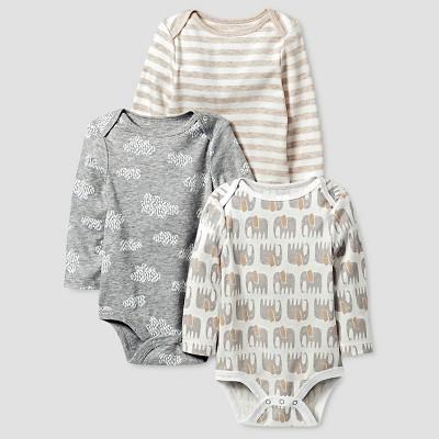 Baby Organic 3 Pack Bodysuit Set Cat & Jack™ - White/Heather Gray 0-3M