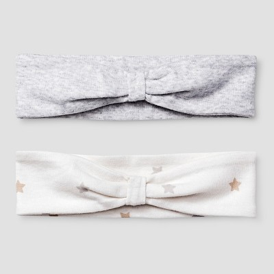 Baby Girls' 2 Pack Organic Headbands Cat & Jack™ - White/Heather Gray