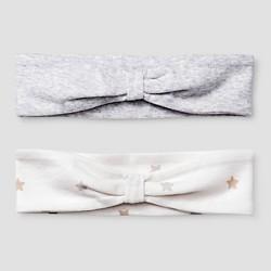 Baby Girls' 2 Pack Organic Headbands Cat & Jack™ - White/Heather Gray