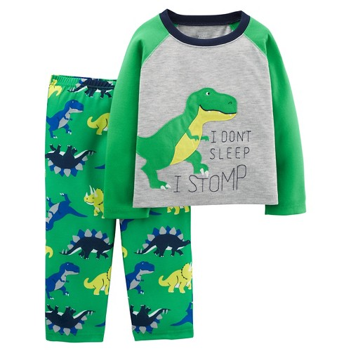 Boys' 2pc Long Sleeve Poly PJ Heather Grey 3T - Just One YouMade by Carter's, Toddler Boy's, Green
