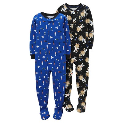 Just One You™ Made by Carter's® Baby Boys' 2pk Space Money Cotton Footed Sleeper Set - Black/Blue 9M