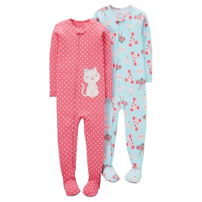 Just One You™ Made by Carter's® Baby Girls' 2pk Kitten Dots Mice Footed Sleeper Set - Pink/Blue 9M