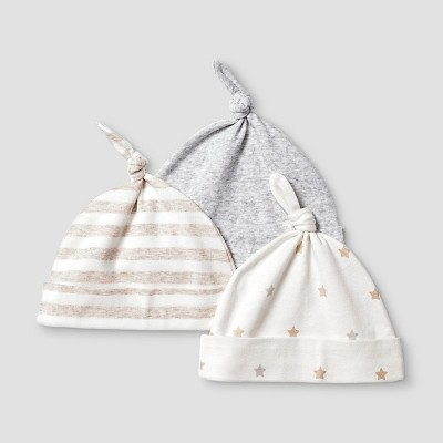 Baby Girls' 3 Pack Organic Hats Cat & Jack™ - White/Heather Gray
