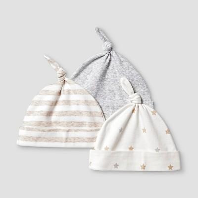 Baby Girls' 3 Pack Organic Hats Cat & Jack™ - White/Heather Gray