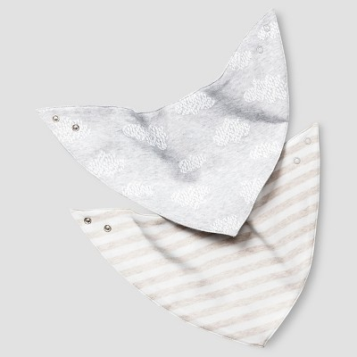 Baby 2 Pack Organic Bandana Bibs Cat & Jack™ - White/Heather Gray