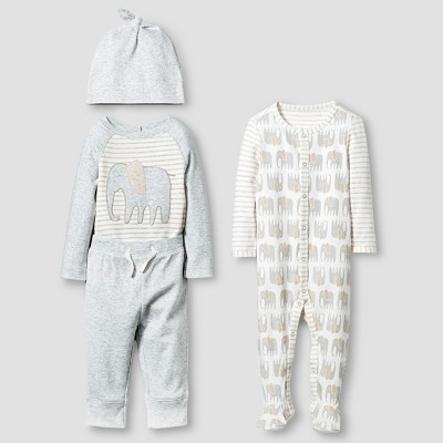 Baby Organic 4 Piece Layette Set Cat & Jack™ - White/Heather Gray