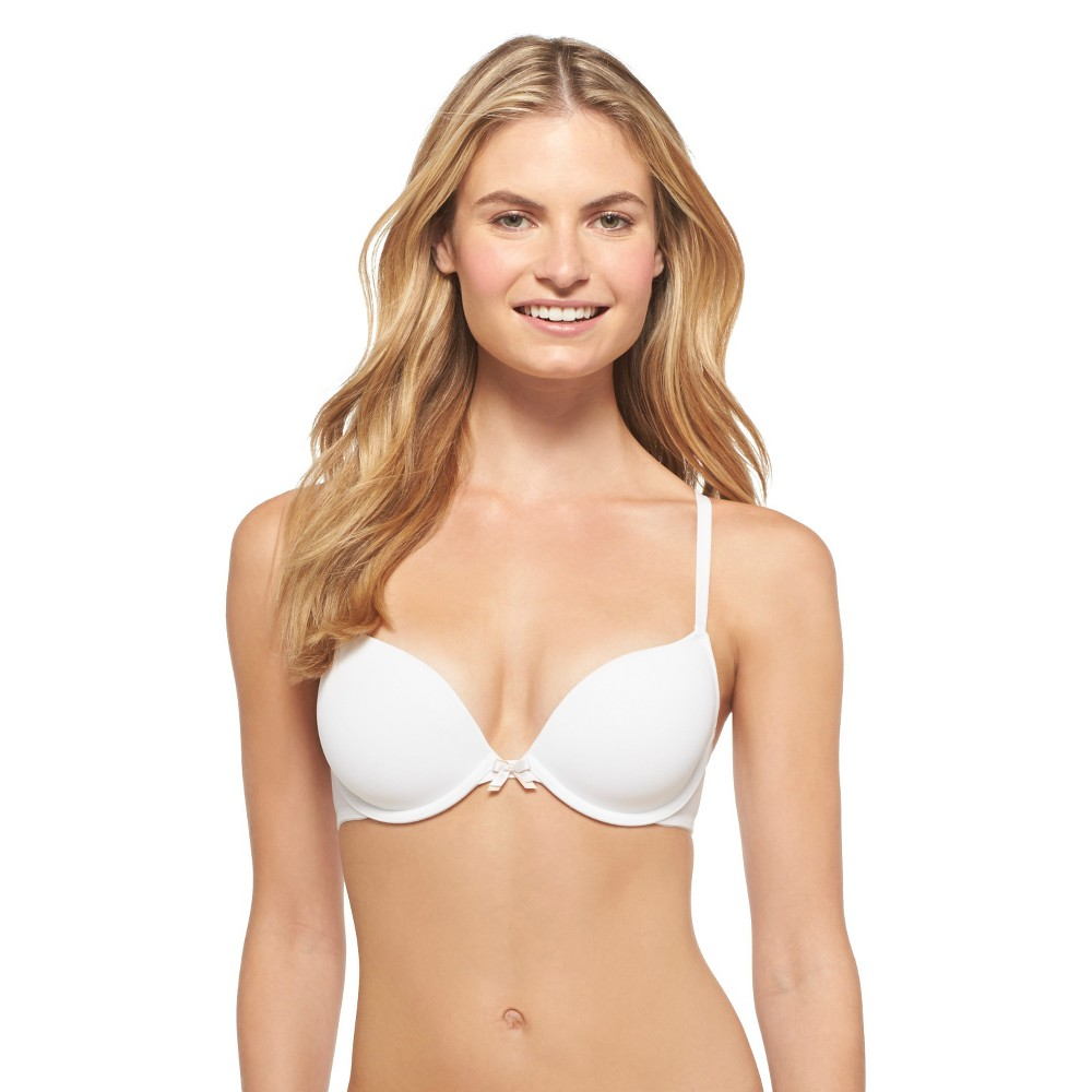 Womens Perfect T-Shirt Convertible Lightly Lined Plunge Bra - Xhilaration White 32DD