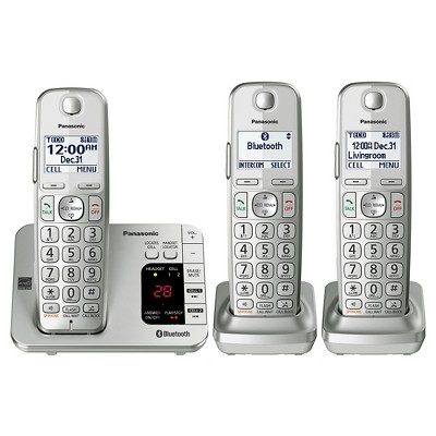 Panasonic Cordless Phone with Digital Answering Machine - Silver (KX-TGE463S)