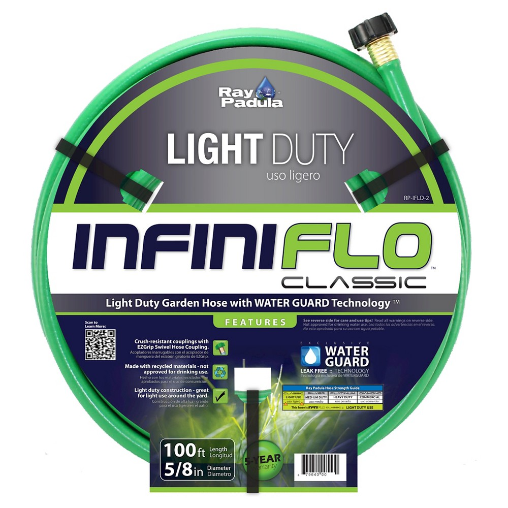 Ray Padula InfiniFlo Classic 5/8 in. x 100 ft. Light-Duty Garden Hose, Blue