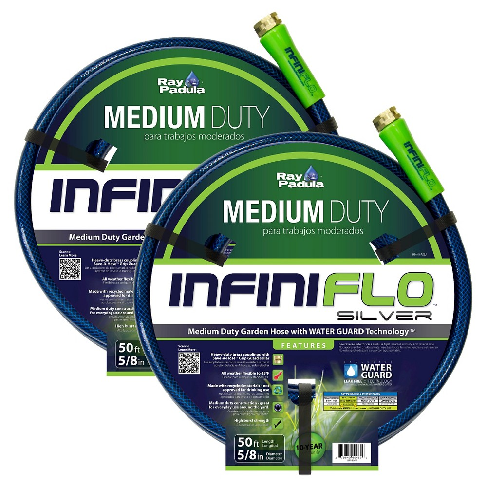 Ray Padula InfiniFlo Silver 5/8 in. x 50 ft. Medium-Duty Garden Hose (2-Pack), Blue