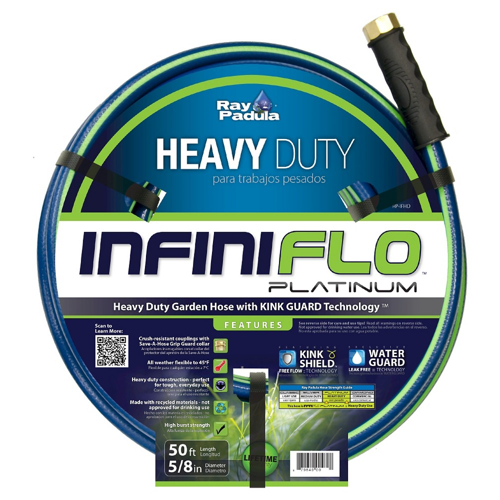 Ray Padula InfiniFlo Platinum 5/8 in. x 50 ft. Heavy-Duty Garden Hose, Blue