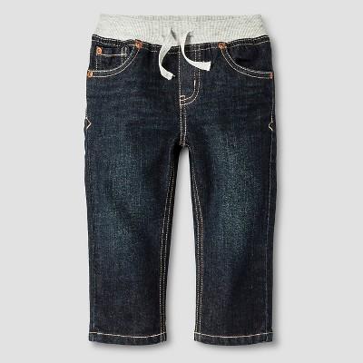 Baby Boys' Rib-Waist Straight Fit Jeans Baby Cat & Jack™ - Dark Wash 12 M