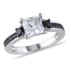 1 1/3 CT. T.W. Simulated White Sapphire and 1/3 CT. T.W. Black Diamond Ring in Sterling Silver (5), Women