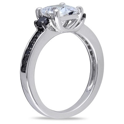 1 1/3 CT. T.W. Simulated White Sapphire and 1/3 CT. T.W. Black Diamond Ring in Sterling Silver (5), Women's