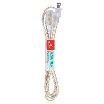 Designer 9ft Fabric Wrapped extension cord gold/white
