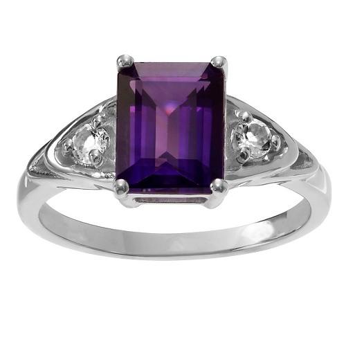 1 1/3 CT. T.W. Baguette-Cut Amethyst Three-Stone Basket Set Ring in Sterling Silver - Purple (6), Women's