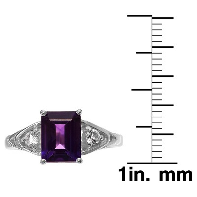1 1/3 CT. T.W. Baguette-Cut Amethyst Three-Stone Basket Set Ring in Sterling Silver - Purple (6), Women's