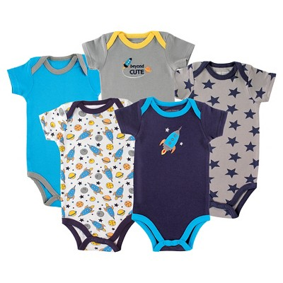 Luvable Friends Baby Boys' 5 Pack Bodysuits - Rocket 0-3M