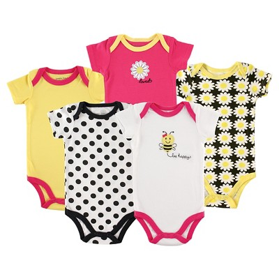Luvable Friends Baby 5 Pack Bodysuits - Bee 0-3M