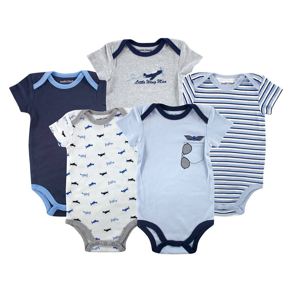 Luvable Friends Baby Boys 5 Pack Bodysuits - Airplane 0-3M, Size: 0-3 M, Blue Gray