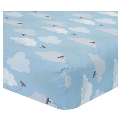 Lambs & Ivy Crib Sheet - Silver Cloud