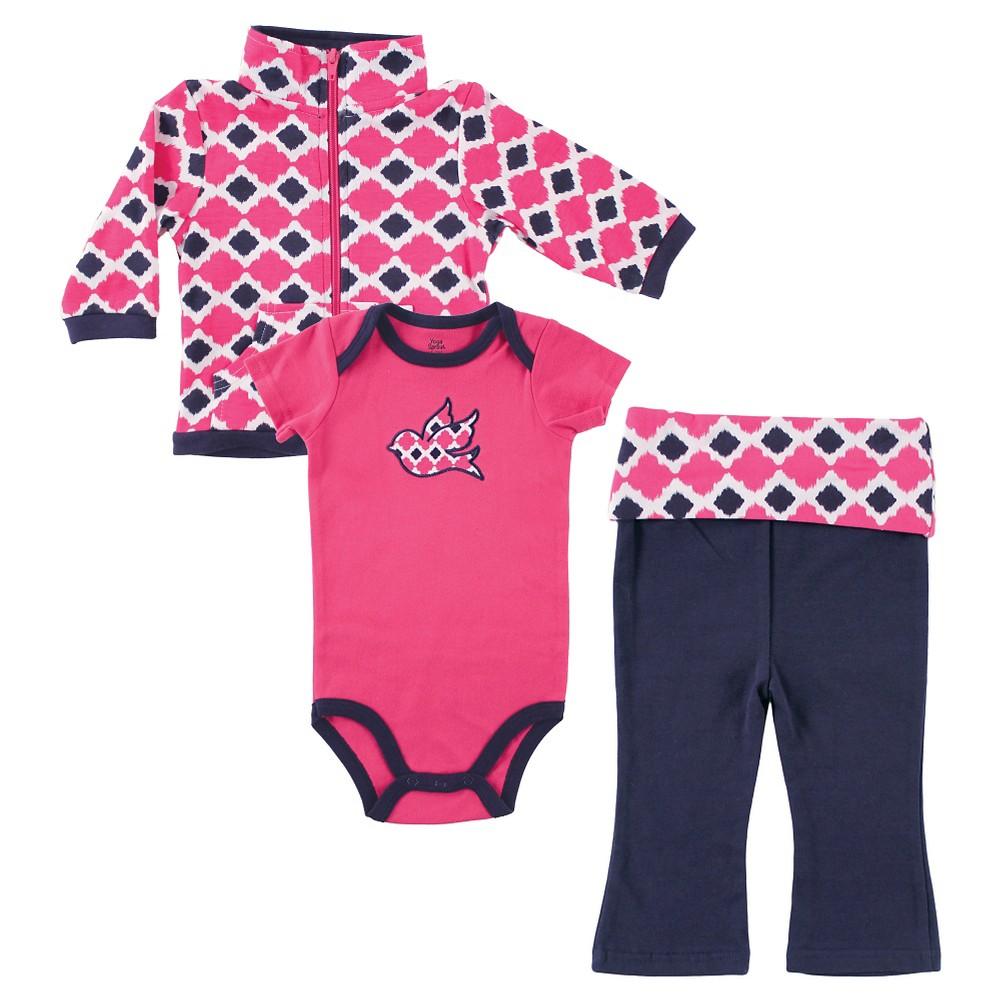 Yoga Sprout Baby Hoodie, Bodysuit & Pants Set - Bird 0-3M, Infant Girls, Size: 0-3 M, Blue Pink