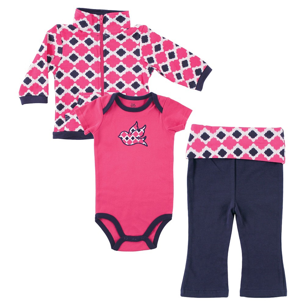 Yoga Sprout Baby Hoodie, Bodysuit & Pants Set - Bird 6-9M, Infant Girls, Size: 6-9 M, Blue Pink