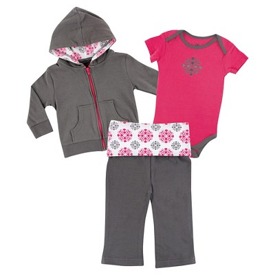 Yoga Sprout Baby Girls' Hoodie, Bodysuit & Yoga Pants Set - Medallion 0-3M