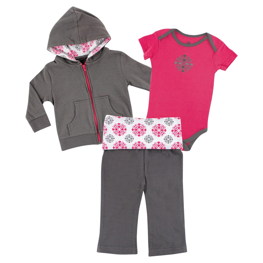 Yoga Sprout Baby Girls' HoodieBodysuit & Yoga Pants Set - Medallion 0-3M, Size: 0-3 M, Gray Pink
