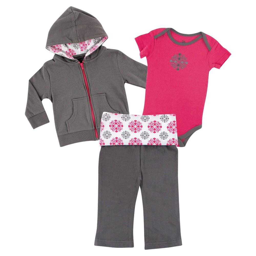 Yoga Sprout Baby Girls Hoodie, Bodysuit & Yoga Pants Set - Medallion 0-3M, Size: 0-3 M, Gray Pink