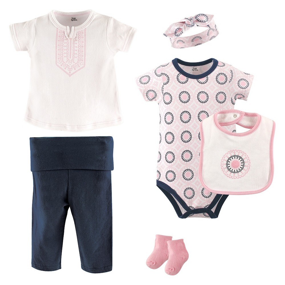 Yoga Sprout Baby Girls 6 Piece Set - Ornamental 0-3M, Size: 0-3 M, Black Pink