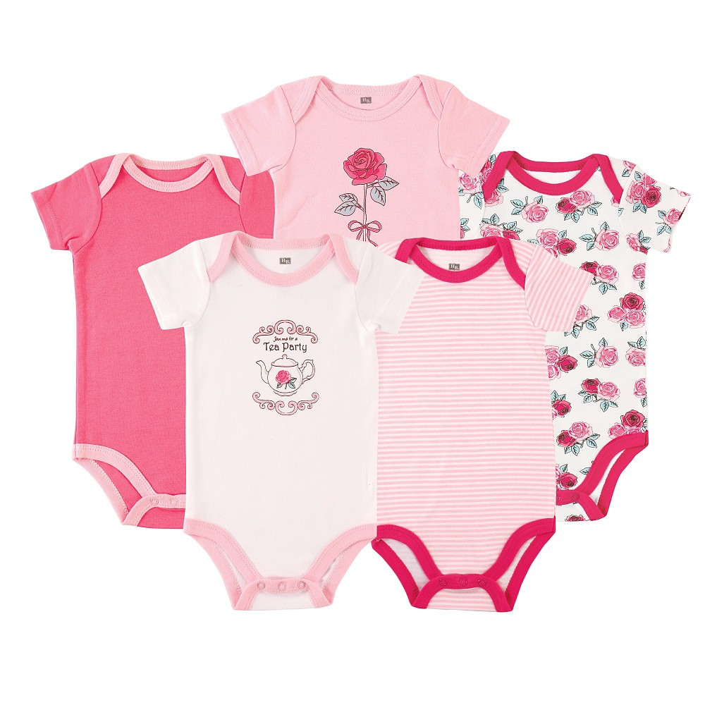 Luvable Friends Baby Girls 5 Pack Bodysuits - Roses 6-9M, Size: 6-9 M, Pink